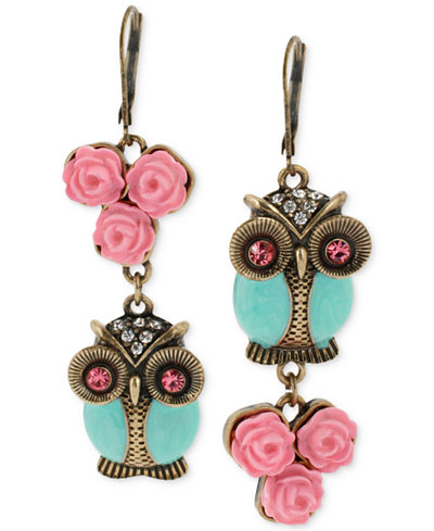 Betsey Johnson Gold-Tone Owl Mismatch Earrings