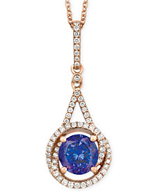 Le Vian Tanzanite (1-1/5 ct. t.w.) and Diamond (1/4 ct. t.w.) Pendant Necklace in 14k Rose Gold