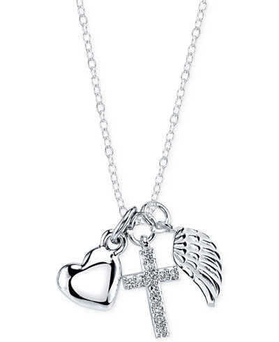 Unwritten Angel Wing, Cross, and Heart Pendant in Sterling ...