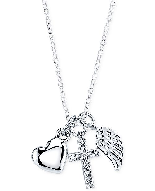 Unwritten angel wing cross and heart pendant in sterling silver main image aloadofball