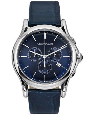 Emporio Armani Men's Swiss Chronograph Blue Leather Strap Watch 44mm ARS4010