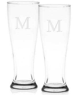 Monogram Pilsner Glasses, Set of 2