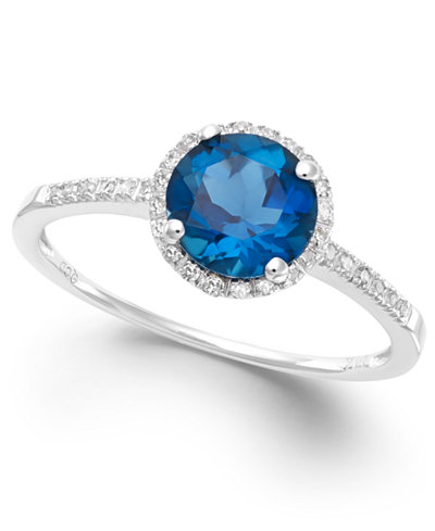 London Blue Topaz 1 3 8 Ct T W And Diamond 1 8 Ct T