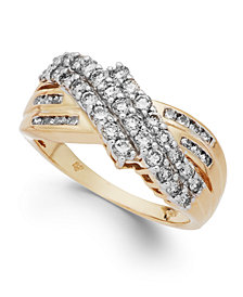 Diamond Three-Row Ring in 14k Yellow or White Gold (1 ct. t.w.)