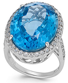 Blue and White Topaz Ring in Sterling Silver (21 ct. t.w.)(Also Available in Green Amethyst and Smoky Quartz)