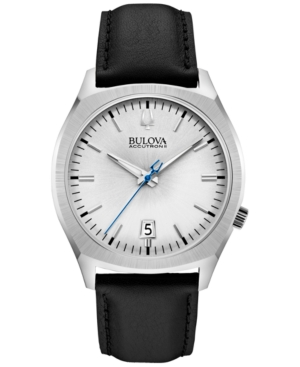 Bulova Accutron Ii Men's Surveyor Black Leather Strap Watch 41mm 96B213