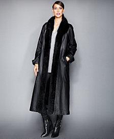 The Fur Vault Fox-Trim & Rabbit-Fur-Lined Leather Maxi Coat