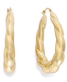 Signature Gold™ Ribbed Oval Hoop Earrings in 14k Gold over Resin