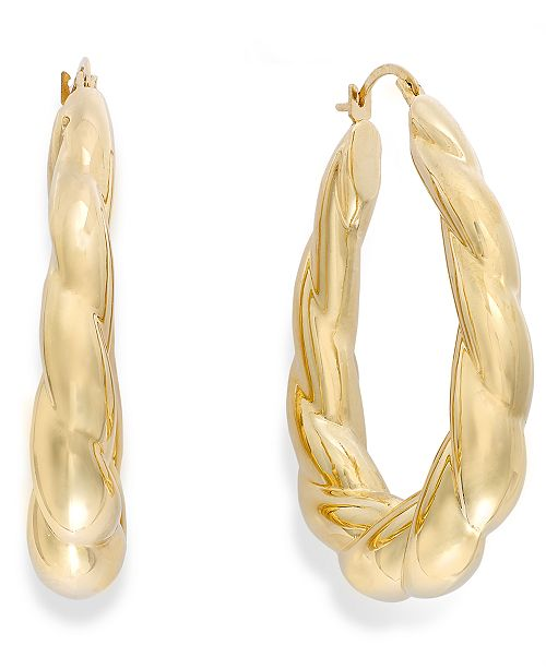 Italian Gold Signature Gold™ Ribbed Oval Hoop Earrings in 14k Gold over Resin