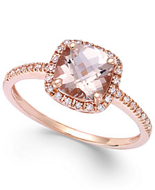 Morganite (1-1/4 ct. t.w.) and Diamond (1/8 ct. t.w.) Ring in 14k Rose Gold