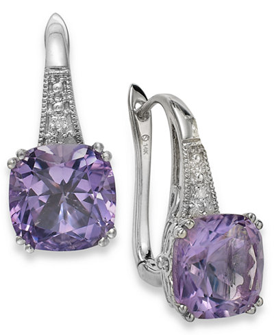 Amethyst (5-3/4 ct. t.w.) and Diamond Accent Leverback Earrings in 14k White Gold