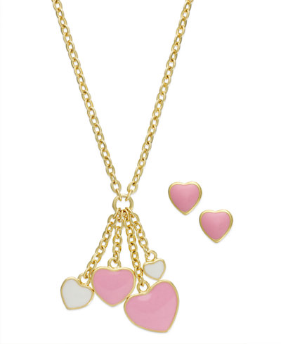 Children's Pink and White Heart Jewelry Set in 18k Gold over Sterling Silver