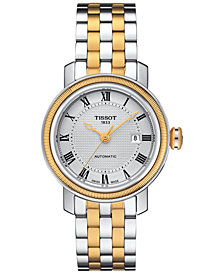 Tissot Women's Swiss Automatic Bridgeport Two-Tone Stainless Steel Bracelet Watch 29mm T0970072203300