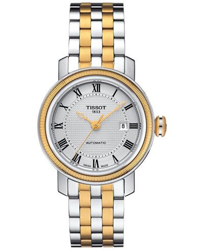 Tissot Women's Swiss Automatic Bridgeport Two-Tone Stainless Steel Bracelet Watch 29mm T0970072203300