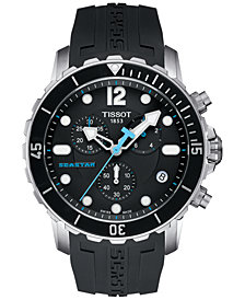 Tissot Men's Swiss Chronograph Seastar 1000 Black Rubber Strap Watch 45mm T0664171705700