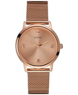 GUESS Mens Diamond Accent Rose GoldTone Mesh Bracelet Watch 40mm