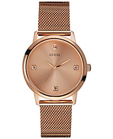 GUESS Men's Diamond Accent Rose Gold-Tone Mesh Bracelet Watch 40mm U0280G2