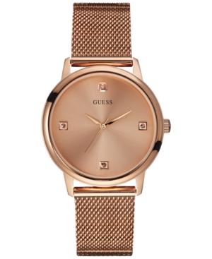 Guess Men's Diamond Accent Rose Gold-Tone Mesh Bracelet Watch 40mm U0280G2
