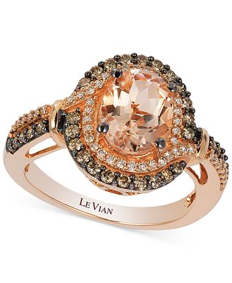 Le Vian Peach Morganite 1 1 5 ct t w and Diamond 1 2 ct t w