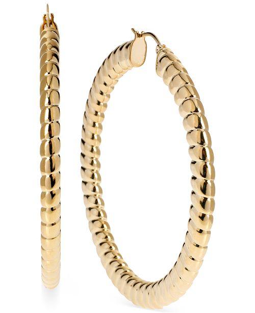 Hint of Gold Ribbed Hoop Earrings, 62mm