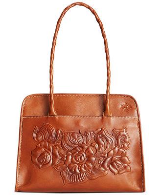 Patricia Nash Large Tooled Rose Paris Satchel Handbags