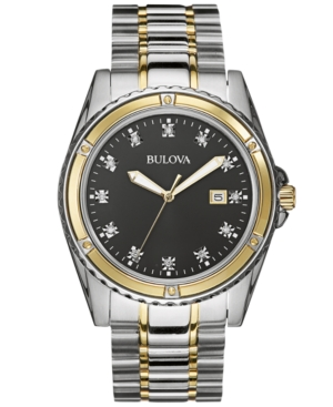 Bulova Men's Diamond Accent Two-Tone Stainless Steel Bracelet Watch 42mm 98D122