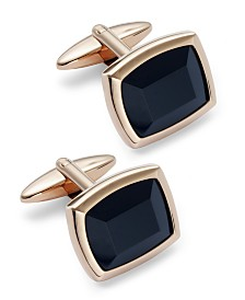 Sutton by Rhona Sutton Men's Rose Gold-Tone Stainless Steel and Jet Stone Cuff Links