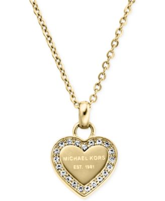 "Image of Michael Kors Mini 16"" Crystal Heart Pendant Necklace"