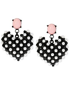 Black-Tone Imitation Pearl Heart Earrings