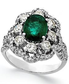 Emerald (1-3/4 ct. t.w.) and Diamond (1-1/5 ct. t.w.) Ring in 14k White Gold