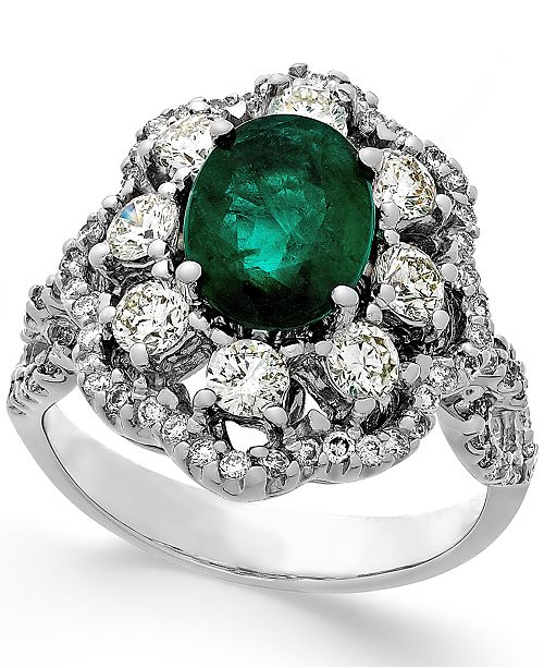 Macy's Emerald (1-3/4 ct. t.w.) and Diamond (1-1/5 ct. t.w.) Ring in 14k White Gold