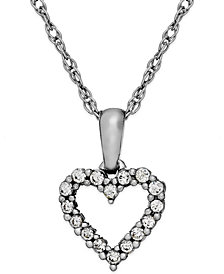 Diamond Heart Pendant Necklace in 14k White Gold (1/10 ct. t.w.)