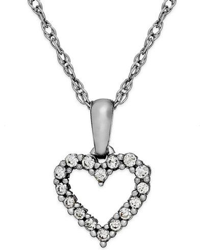 Diamond Heart Pendant Necklace in 14k White Gold (1/10 ct. t.w.)