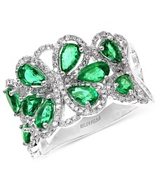 Brasilica by EFFY Emerald (2-1/5 ct. t.w.) and Diamond (1/2 ct. t.w.) Flower Ring in 14k White Gold, Created for Macy's
