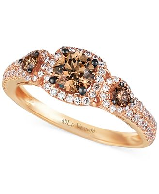 Le Vian Chocolate and White Diamond Three Stone Ring in 14k Rose