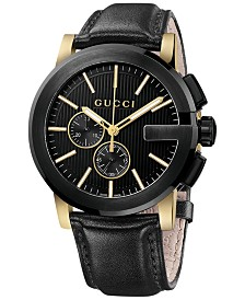 Gucci Unisex Swiss G-Chrono XL Black Leather Strap Watch 44mm YA101203