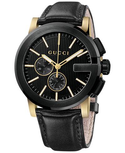 Gucci Unisex Swiss G-Chrono XL Black Leather Strap Watch 44mm YA101203