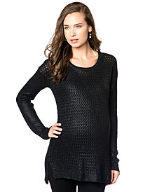 Willow and Clay Maternity Mixed-Stitch Shimmer Sweater