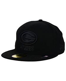 Green Bay Packers NFL Black on Black 59FIFTY Fitted Cap