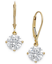 Arabella Swarovski Cubic Zirconia Leverback Earrings in 14k Gold (4-1/2 ct. t.w.)