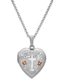 Painted Cross Heart Locket Necklace in Sterling Silver
