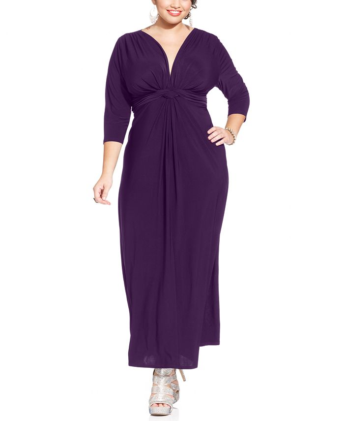 Love Squared - Plus Size Three-Quarter-Sleeve Knotted Maxi Dress