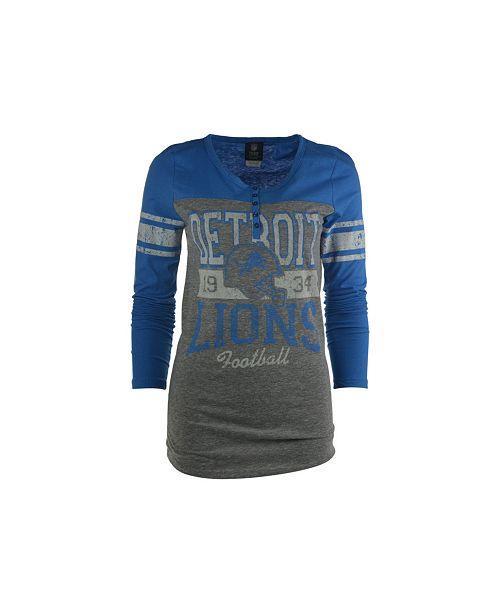 5th & Ocean Women's Long-Sleeve Detroit Lions Vintage Graphic T-Shirt