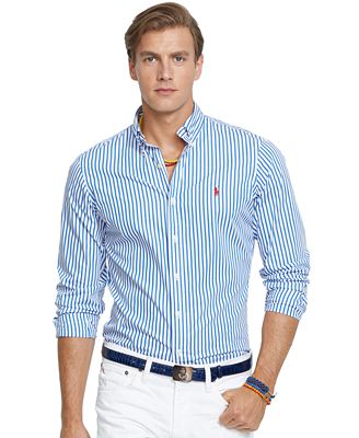 Polo Ralph Lauren Men's Long Sleeve Striped Poplin Shirt - Casual ...