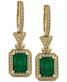 Brasilica by EFFY® Emerald (2-7/8 ct. t.w.) and Diamond (1/2 ct. t.w.) Earrings in 14k Gold, Created for Macy's