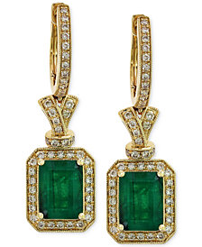 Brasilica by EFFY Emerald (2-7/8 ct. t.w.) and Diamond (1/2 ct. t.w.) Earrings in 14k Gold, Created for Macy's