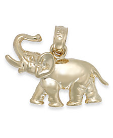 Polished Elephant Charm in 14k Gold