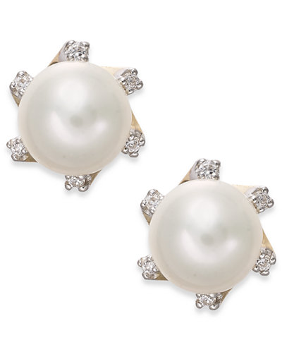 Cultured Freshwater Pearl (7mm) and Diamond Accent Stud Earrings in 14k Gold