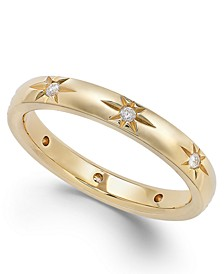 Star by Diamond Star Wedding Band in 18k Gold (1/8 ct. t.w.), Created for Macy's