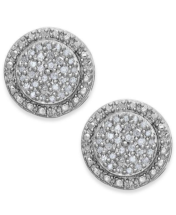 Macy's Diamond Pavé Stud Earrings in Sterling Silver (1/5 ct. t.w.)